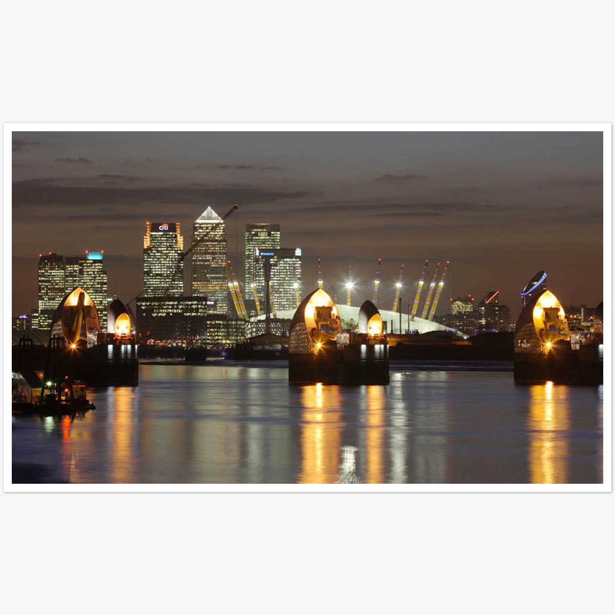 Thames Barrier and Canary Wharf by Roger Jackson